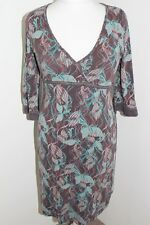 FAT FACE Woman's Brown Patterned Tied 3/4 Length Sleeved Dress Size UK 10