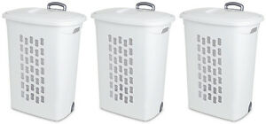 Sterilite White Laundry Hamper with Lift-Top, Wheels, And Pull Handle (3 Pack)