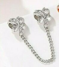 PRETTY SILVER BUTTERFLY SAFETY CHAIN FOR CHARM BRACELET GENUINE BARGAIN SALE !!