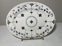 "Churchill FINLANDIA Serving Platter Large Oval Blue Staffordshire England 12""x10"