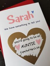 Pregnancy announcement card for friends auntie sister personalised reveal PA107