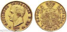 ITALY - FRANCE , GOLD 40 LIRE NAPOLEON BONAPARTE 1814 M ( SAS ) , RARE