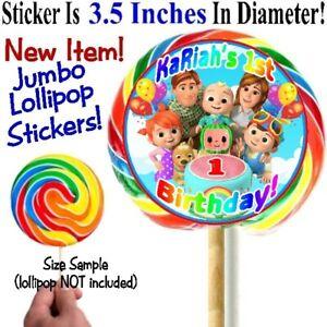 12 Cocomelon Birthday Party Jumbo Big Lollipop Stickers Labels