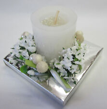 New Votive Candle in Glass Holder with Flower Ring in Display Box with Ribbon