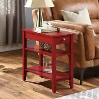 3-Tier Side Accent Table w/ Drawer Wooden Display Storage Shelf Nightstand Red