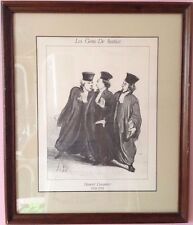 """Vintage Framed Honore Daumier Lithograph Print """"Les Gens De Justice""""  749"""