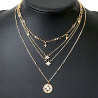 Women Multilayer Gold Plated Choker Star Crystal Chain Pendant Necklace Jewelry