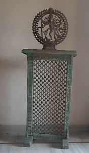Old wooden console phone stand wood hand carved iron jali Indian green furniture