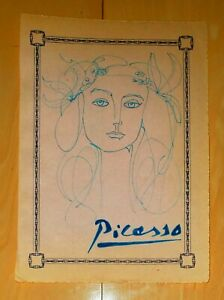 """PABLO PICASSO 12"""" x 9"""" -LADY-  SIGNED INK ON PAPER DRAWING"""