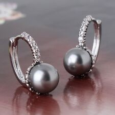 Fashion jewellery! 18k white gold filled Engagement pearl sparking earring