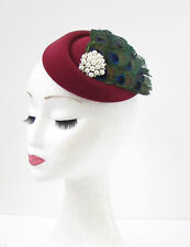 Dark Red Burgundy Peacock Feather Pillbox Hat Fascinator Hair Races Vtg 40s 550