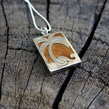 Koa Wood Hawaii Jewelry Plum Tree Silver Rhodium Plated Brass Pendant #BRP1167