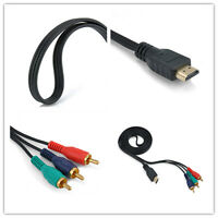 HDMI Male hot to 3 RCA Video Audio AV Cable Adapter For HDTV DVD 1080P Component