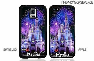 Disney Cinderella Castle Blue Fireworks Personalized With Your Name Phone Case