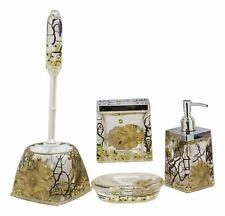 Nautical Gold Coastal Reefs And Pearls Accessories Bathroom Vanity Gift Set 5Pc
