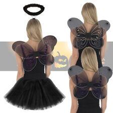 Girls Black Fairy Angel Glitter Wings, Tutu, Halo Costume Halloween Fancy Dress