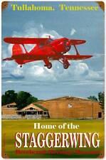 Aviation Airplane Staggerwing Beechcraft Metal Sign Man Cave Garage Shop VG012