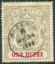 More details for mauritus-1902 1r grey-black & carmine.  a fine used example sg 153
