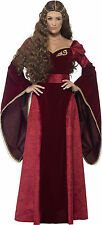 Deluxe Medieval Queen Costume Ladies Tudor Fancy Dress Outfit Sie 8 to 22 Small (uk Size 8-10)