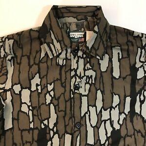 Vintage SafTbak Mens Treebark Camo Hunting Shirt Jacket Sz M Made In USA