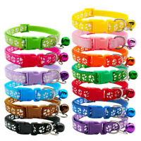 Cute Paw Print Adjustable Bell Pet Collar Cat Small Dog Kitten Puppy Colourful