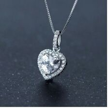 """Micro Pave Cubic Zirconia Heart-Shaped Pendant In Sterling Silver 18"""" Gift K8A"""