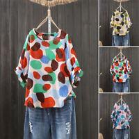 ZANZEA Womens Summer Polka Dot Blouse Tee T Shirt Fashion Colorful Plus Size Top