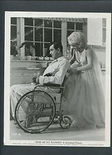 ROCK HUDSON IN WHEELCHAIR WITH CHAMPAGNE - DORIS DAY PUSHES HIM - 1964 COMEDY