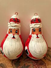 Lot of 2 Handpainted Santa Light Bulb Ornaments
