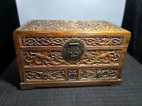China Qing Dynasty old antique Yellow Boxwood dragon wood box Jewelry box EVO