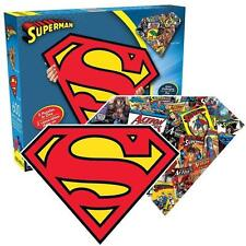 AQUARIUS SHAPED 2-SIDED PUZZLE DC COMICS SUPERMAN LOGO AND COLLAGE 600 PC #75017