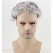 Skin PU Toupee Black whit 80% Grey Real Human Hair Replacement Men's Hairpiece
