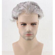 Skin PU Toupee Black whit 80% Grey Real Human Hair Replacement Men's Hairpiece