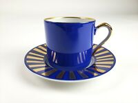 Fitz & Floyd Tutankhamun Gold Handle Rim Blue White Cup & Saucer Set