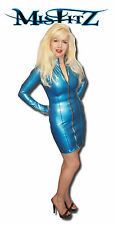 MISFITZ PEARLSHEEN BLUE RUBBER LATEX MISTRESS  DRESS SIZES 8-32/MADE TO MEASURE