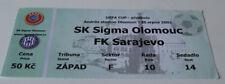 Ticket for collectors EC Sigma Olomouc FK Sarajevo 2002 Czech Bosnia
