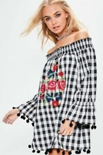 NWT Missguided Embroidered Off Shoulder Boho Festival Pompom Check Dress 2