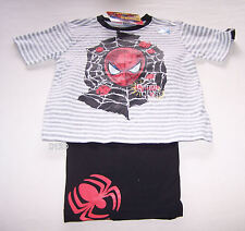 Marvel Spiderman Boys Grey Black 100% Cotton Pyjama Set Size 7 New