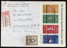 Alemania 1972 Juegos Olímpicos Hoja Souvenir De reg.cover