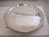 SUPERB QUALITY HEAVY SOLID SILVER CHIPPENDALE STYLE SALVER