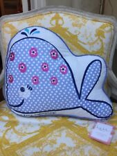 Nicole MILLER Just Keep Swimming WHALE Pillow Kids Novelty Nautical Beach Fish