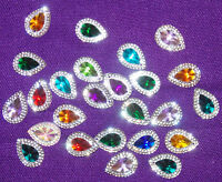 multi colour clear sew On Jewel 18mm GEM CRYSTAL RHINESTONE trim Bead