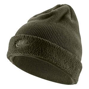 NIKE Sportswear Fleece Beanie Knit Green Hat Olive Cap Ski Winter Warm Lined