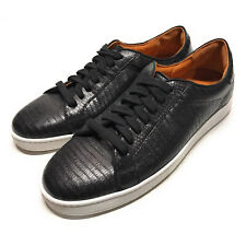 Frye Womens Size 11 Alexi Low Lizard Embossed Black Leather Sneakers Shoes