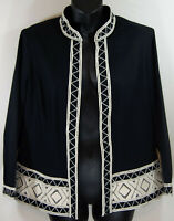 CHICO's Black Embroidered Open Lined Blazer Jacket Size 1 Mandarin Collar