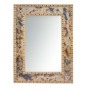 30 X 24 Rectangle Fired Gold Crackled Glass Decorative Wall Mirror