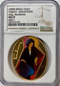 2000 Israel Gold 45x36mm Tarkay-Reflections Medal NGC MS-67