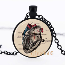 Anatomical Heart photo Glass Dome black Chain Pendant Necklace wholesale