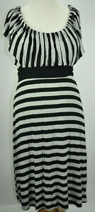A pea in the pod women maternity stripes black/grey dress size M