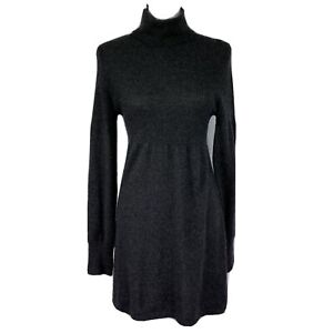 Aqua Womens Medium Dark Gray Long Sleeve A-Lined Cashmere Sweater Dress